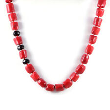 "Semi-Precious 13-12mm Gemstone Red Coral Beads 19.5"" Hand-knotted Necklace"