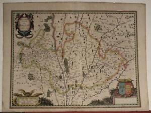 BLOIS FRANCE 1660 HENRICUS HONDIUS ANTIQUE COPPER ENGRAVED MAP WITHOUT TEXT