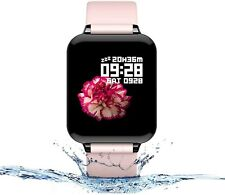 Smart Watch Fitness Tracker Heart Rate iPhone Android IOS Waterproof Pink B57