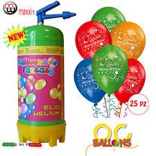 Bombola Elio usa e getta per palloncini 25 PZ OMAGGIO Buon Compleanno