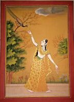 Indian Miniature Painting Hand-Painted Ragni With Peacock Folk Ethnic Art