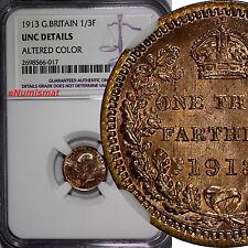 Great Britain George V 1913 1/3 Farthing Struck for Malta NGC UNC DET. KM# 823