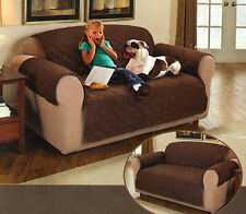 New Loveseat Slipcover for Pets/Children Quilted Chocolate Brown Fits up to 70""
