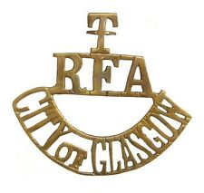 WW1 THE T.R.F.A.CITY OF GLASGOW SHOULDER TITLE BRASS METAL