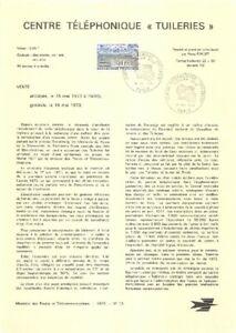 1e jour Timbre sur document philatélique- Centre Téléphonique TUILERIES