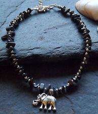 Hematite Chips Beaded Elephant Charm Anklet Anklet Bracelet Boho Hippy