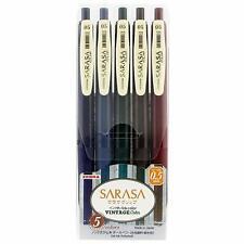 Zebra Gel Ball Pen SARASA JJ15-5C-VI 0.5mm Vintage 5 Color Set Japan free ship