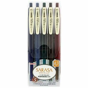 Zebra Gel Ball Pen SARASA JJ15-5C-VI 0.5mm Vintage 5 Color Set Japan free ship