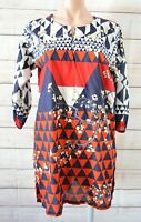 Sana Safinaz Tunic Top Size Large Red Blue White Floral Three-quarter Sleeve