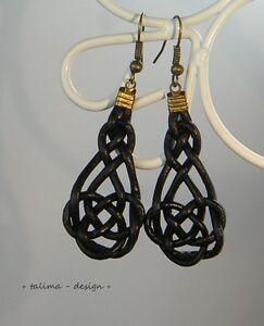 Ohrringe Leder ++ Keltischer Knoten ++ schwarz  * handmade *