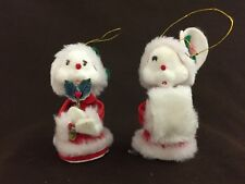 Vintage Christmas Ornaments, Flocked Mice, White Mouse Caroling, Handmade ARDCO