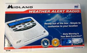 Midland WR120 NOAA Emergency Weather Alert Radio with Alarm Clock, White