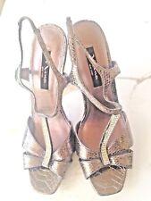 Nina New York  Metallic bronze/pewter Strappy Stilettos size 9