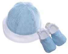 Infant Booties & Hat - Blue Seersucker