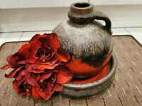 Carstens Keramik Vase Schale Fat Lava Set , WGP, mid-century Studiokeramik