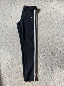 Adidas girls black with white stripe leggings size XL 14/16