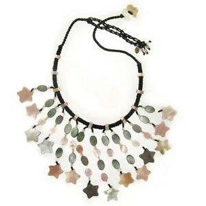 Offerings Sajen Pink and Black Rainbow Mother of Pearl Shell Stars Necklace