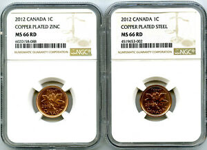 2012 CANADA CENT NGC MS66 RD STEEL AND ZINC TWO COIN SET LAST YEAR OF ISSUE WOW!