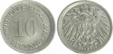 Kaiserreich 10 Pfennig J.13 1914 F Fehlprägung:leicht dezentriert  ss-vz