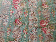Antique Time Softened Roses Floral Light Cotton Fabric ~ Pink Green Lavender