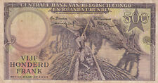 500 FRANCS FINE BANKNOTE FROM BELGIAN CONGO 1957 PICK-34 VERY RARE