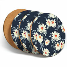 4 Set - Pretty Flower Daisy Floral Coasters - Kitchen Drinks Coaster Gift #2435