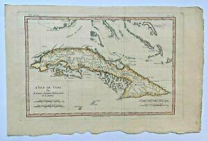 CUBA 1780 by RIGOBERT BONNE ANTIQUE COPPER ENGRAVED MAP IN COLORS 18TH CENTURY