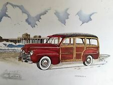 Huntington beach Pier Landmark Red Woody signed 16x20 Surf City Make Offer !