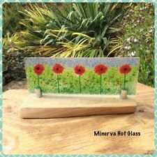 Poppy, Poppies, Fused Glass Panel on Wood Stand, by Minerva Hot Glass