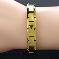 Bio Magnetic Tungsten RSI CTS Pain Relief Unisex Pyramids 24K Gold Fill Bracelet