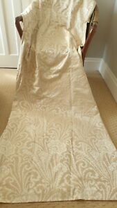 """Beige Satin Damask Lined Curtains French Style Paisley Neutral DUNELM 66"""" x 89"""""""