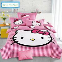 3Pc /Set 3d Bedding Cotton hello kitty bed sheet duvet cover super king queen