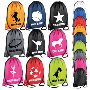 Personalised School Drawstring Bag Girls Boys Kids Gym Sack Swim Dance PE