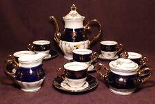 THUN KARLOVARSK Cobalt Blue Gold Accent Fine Porcelain China Coffee / Tea Set.