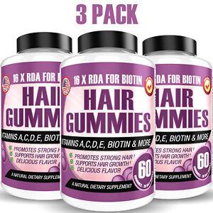 Low Sugar Hair Skin Nails Bear Gummies 60ct Vegetarian Hair Vitamins - 3 PACK