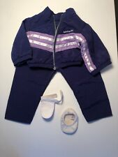 American Girl Doll Gymnastics Set Outfit Purple Jacket Pants White Slipper Grip