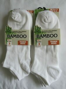 """BNWT - 6 PAIRS  """"RL"""" BAMBOO TRAINER SOCKS - WHITE - 6-11 - FREE POST TO UK ONLY"""