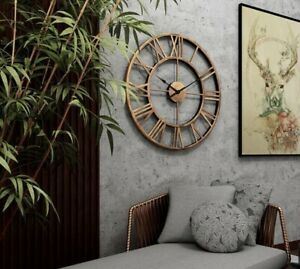 40CM Large Skeleton Metal Roman Big Wall Clock Numerals Giant Open Round Face UK