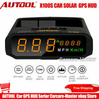AUTOOL X100S Head Up Display Solar Car OBD HUD GPS LED KMH/MPH Speedometer Alarm