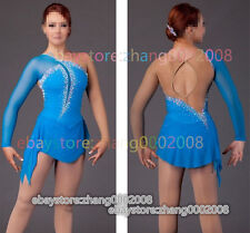 Ice Figure Skating Dress /Blue Competition Gymnastics Baton Twirling Tap Costume