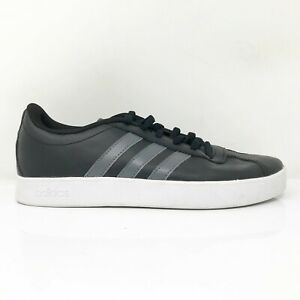 Adidas Mens VL Court 2.0 K F36381 Black Gray Running Shoes Lace Up Size 5.5