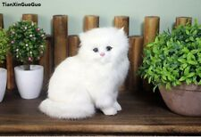 simulation white cat toy polyethylene&furs sitting cat model about 18x13x16cm
