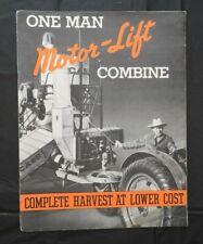 "1937 GENUINE J I CASE ""MODEL C MOTOR LIFT COMBINE"" SALES CATALOG BROCHURE NICE"