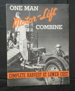"1937 GENUINE J I CASE ""MODEL C MOTOR LIFT COMBINE"" SALES CATALOG BROCHURE NICE"