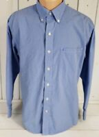IZOD Mens Blue Checkered Long Sleeve Casual Dress Shirt Size M Medium EUC