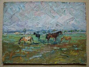 Russian Ukrainian Soviet Oil Painting impressionism landscape horse field