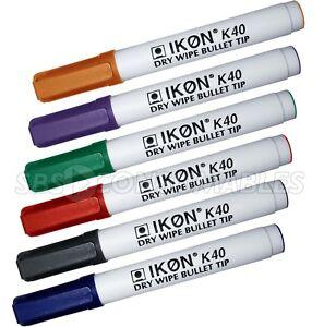 10 x Ikon K40 Jumbo Whiteboard Marker Pens. Coloured Bullet Tip Dry Wipe Markers