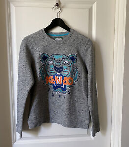 KENZO Women Tiger Pullover Cotton Sweatshirt In Gray Size M