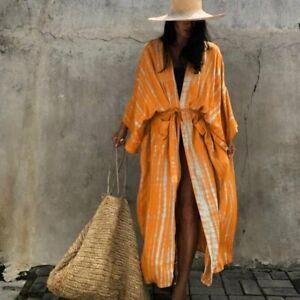 XL New Boho Tie Dye Kimono Yellow Duster Jacket Top Vtg 70s Ins Womens XLARGE