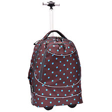 """Horizon 20"""" Carry-on Polka Dot Brown Lightweight Wheeled Rolling Laptop Backpack"""
